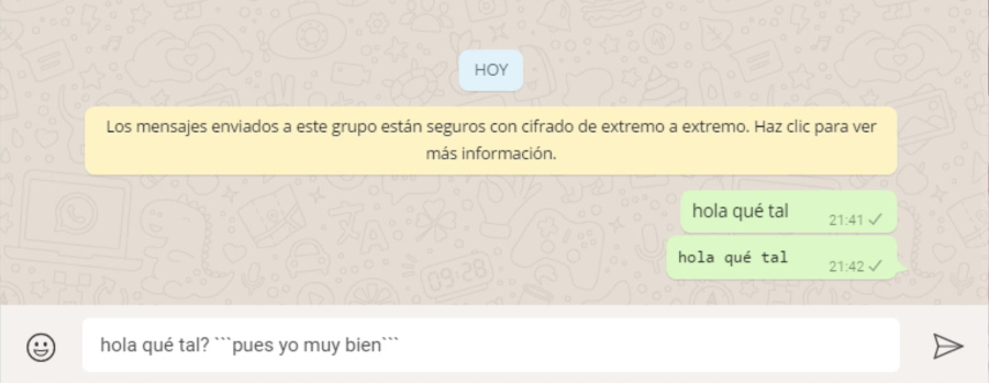 Fuentes de texto normal  y alternativa en WhatsApp
