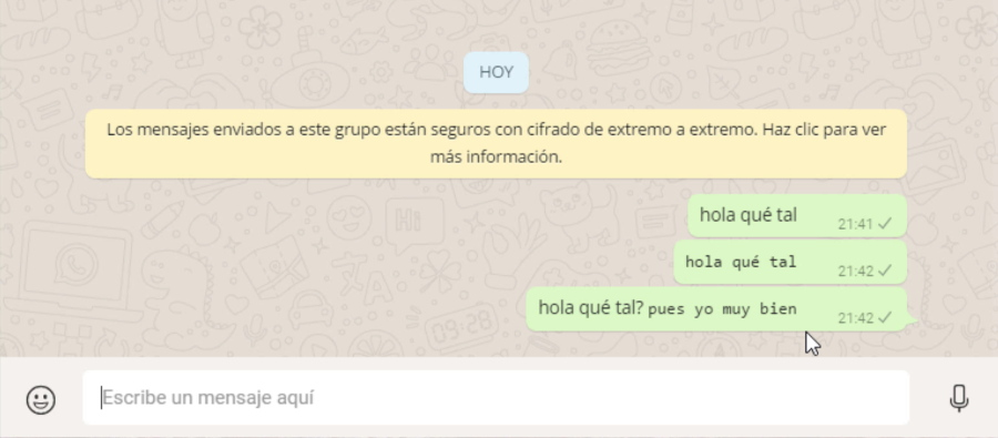 Varios ejemplos de fuentes normal y alternativa en WhatsApp